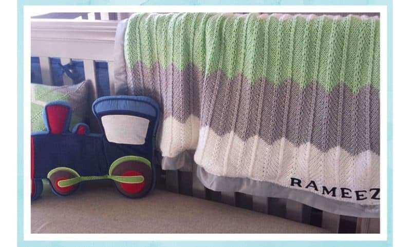 Chevron Knitted baby Blanket