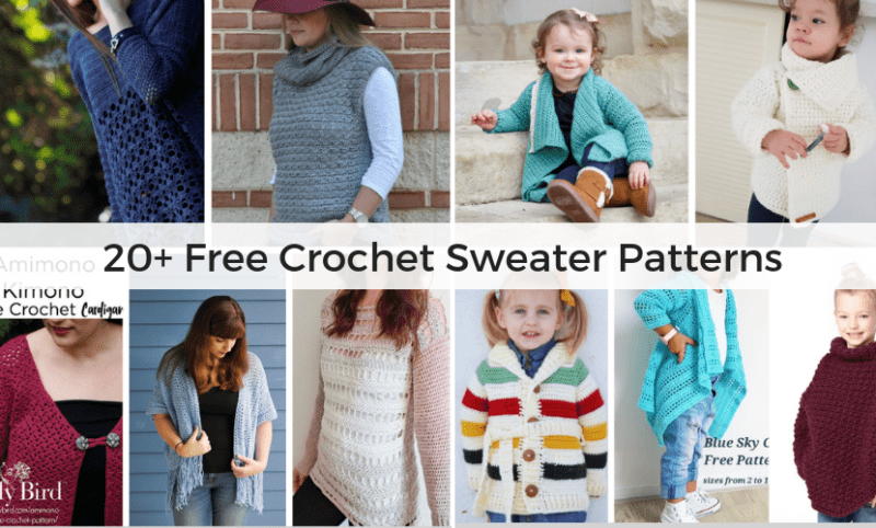 4495cecc3 20+ Free Crochet Sweater Patterns for Adults and Kids!