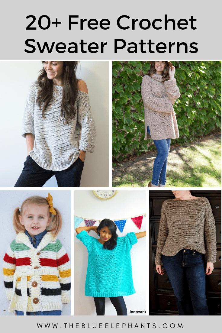 20+ Free crochet sweater Patterns