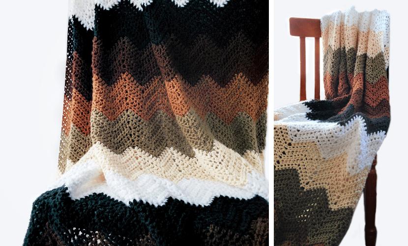 mocha ripple throw easy crochet blanket pattern