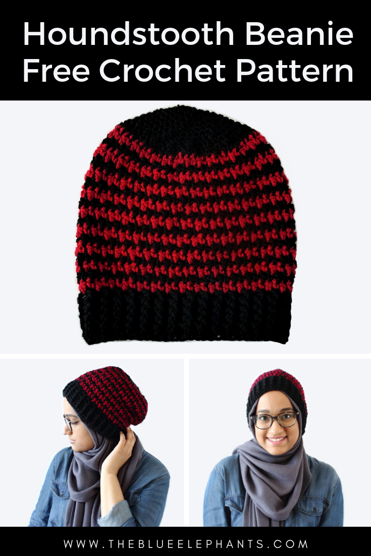 free crochet beanie pattern mens houndstooth