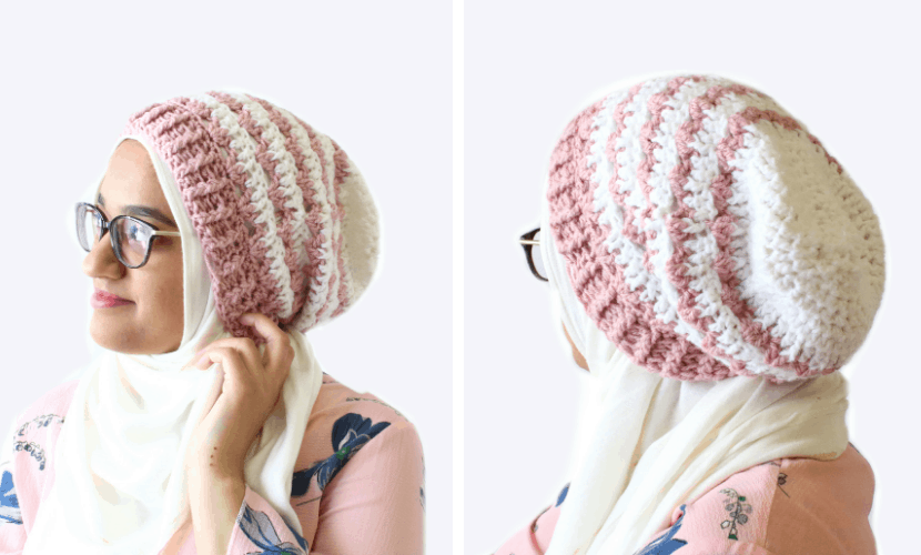 Rosebud Beanie: Free Crochet Slouchy Beanie Pattern