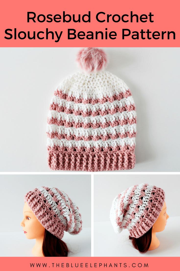 Rosebud Crochet Slouchy Beanie Pattern