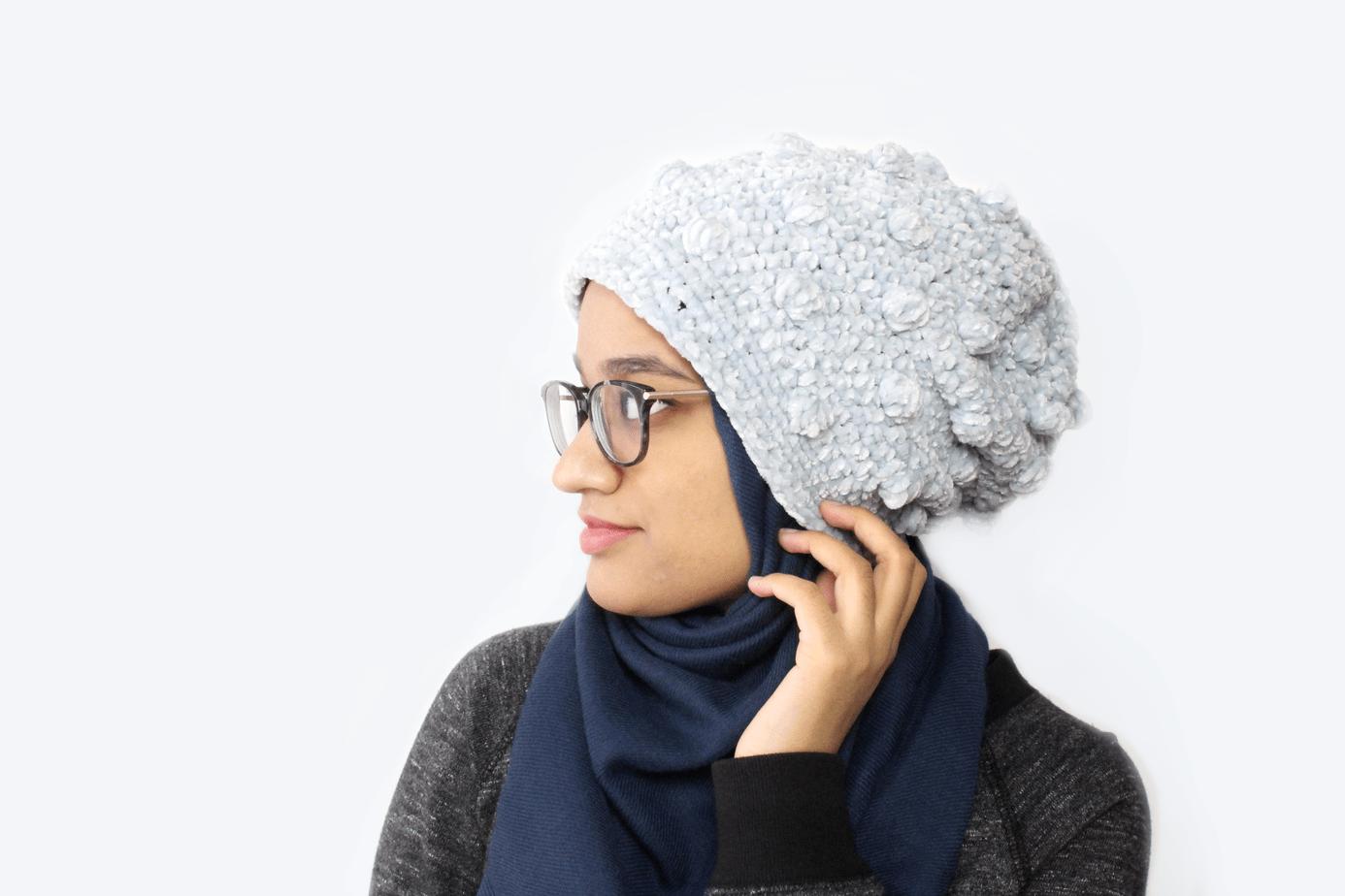 Crochet tempest Beanie with velvet Yarn