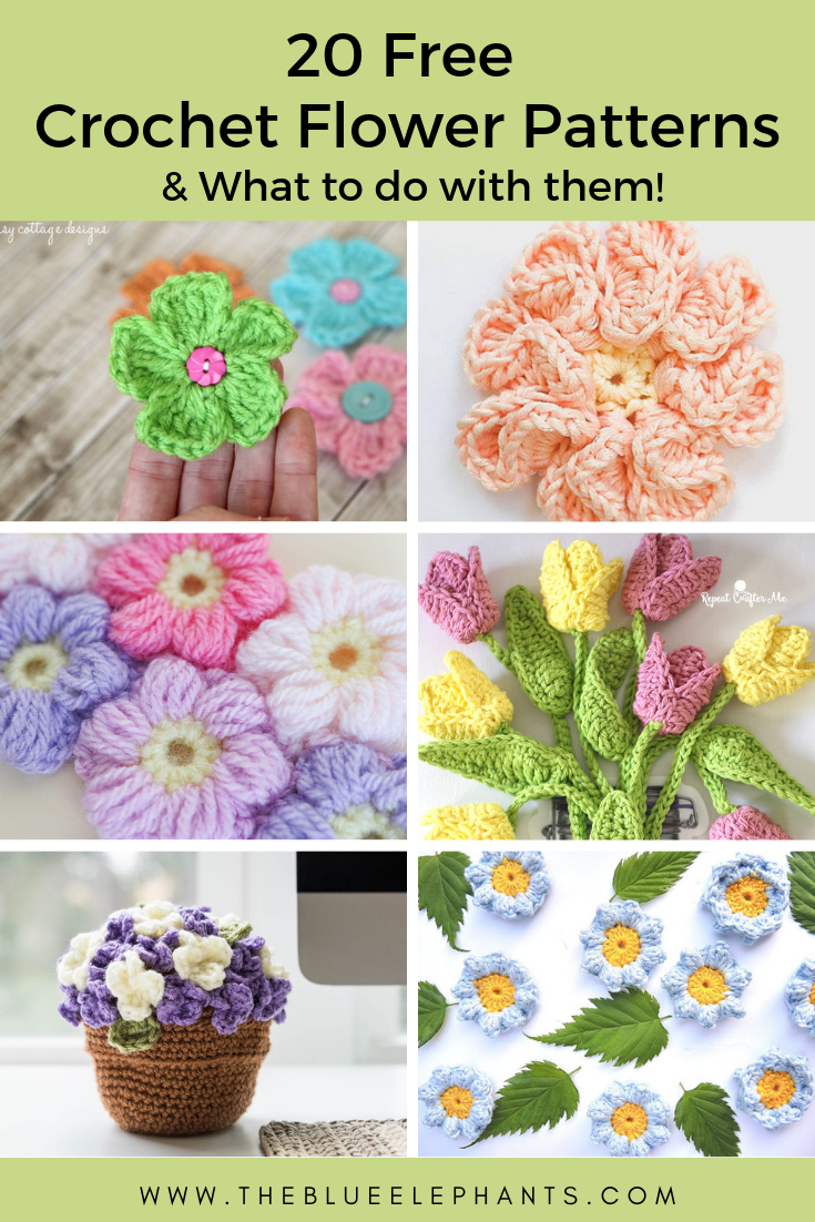 20 fee crochet flowers patterns