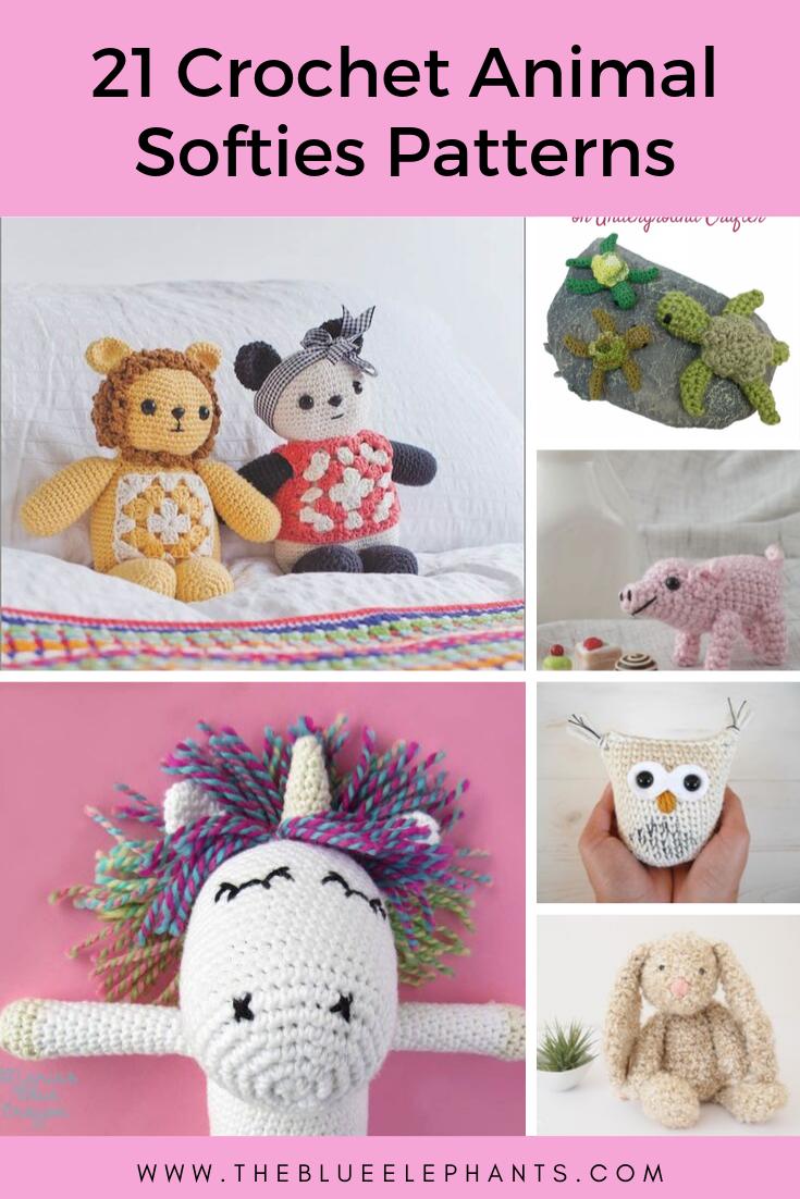 21 Free crochet animal softies pattern