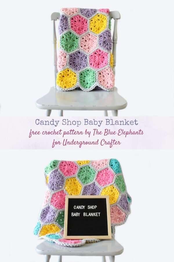 Candy Shop Baby Blanket Pattern Hexagon blanket