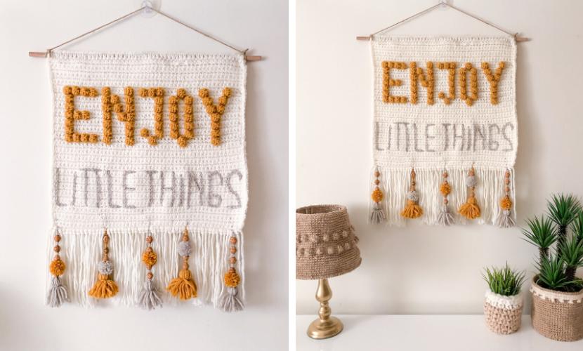 """Enjoy Little Things"" Wall Hanging: Pattern by Topknotch Crochet"